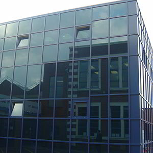 glass frontage of curtain walling by V & R